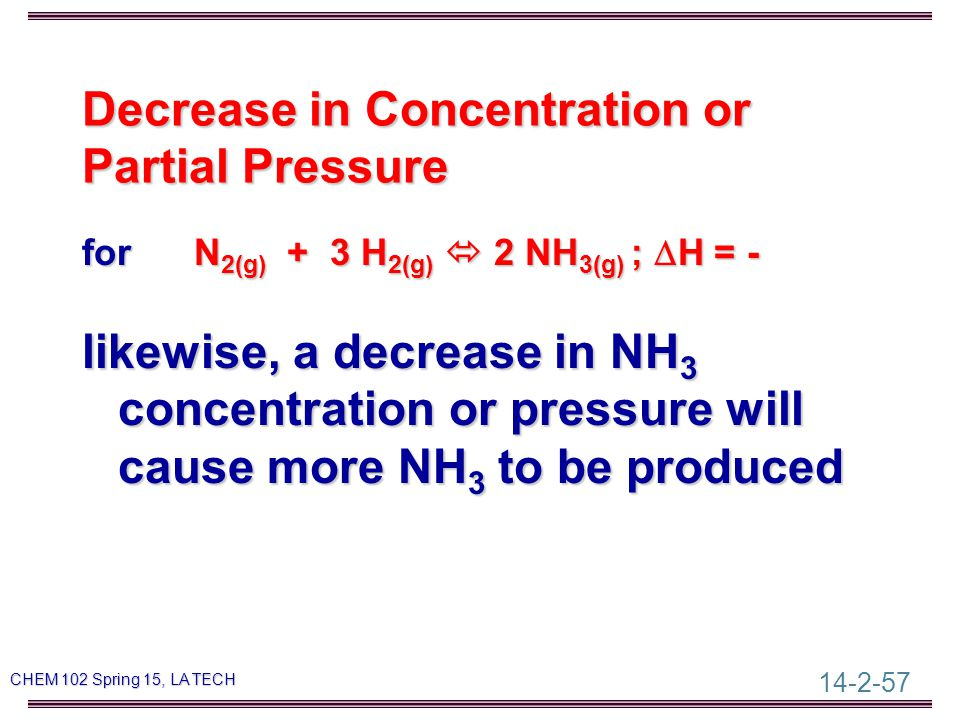 14-2-57 CHEM 102 Spring 15, LA TECH Decrease in Concentration or Partial Pressure for N 2(g) + 3 H 2(g)  2 NH 3(g) ;  H = - likewise, a decrease in NH 3 concentration or pressure will cause more NH 3 to be produced