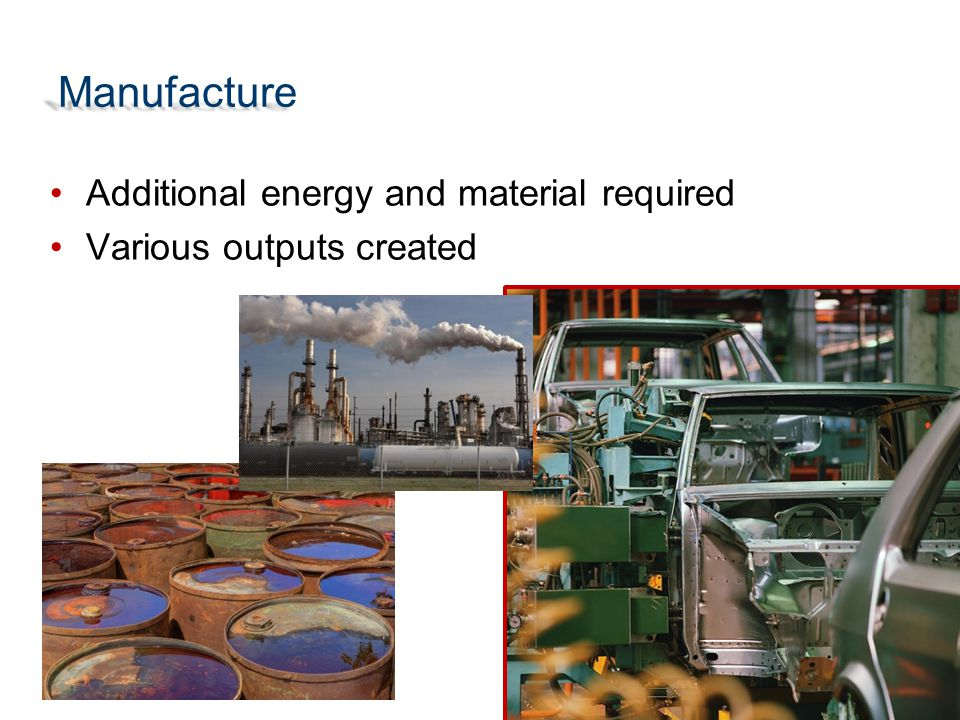 Manufacture Additional energy and material required Various outputs created