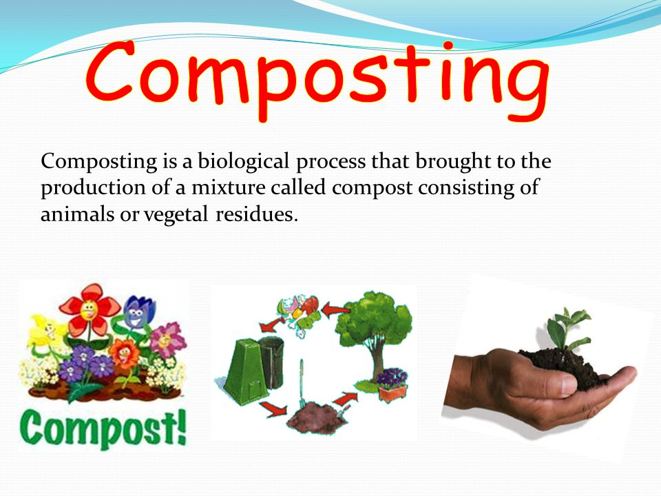 Composting is a biological process that brought to the production of a mixture called compost consisting of animals or vegetal residues.