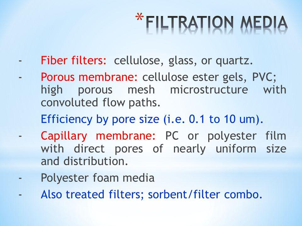 - Fiber filters: cellulose, glass, or quartz. - Porous membrane: cellulose ester gels, PVC; high porous mesh microstructure with convoluted flow paths
