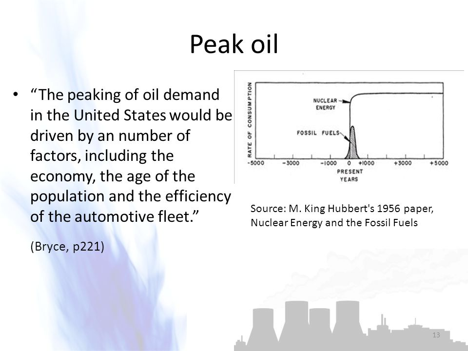 Peak oil The peaking of oil demand in the United States would be driven by an number of factors, including the economy, the age of the population and the efficiency of the automotive fleet. (Bryce, p221) Source: M.