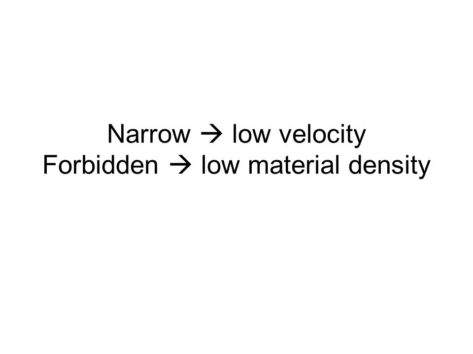 Narrow  low velocity Forbidden  low material density