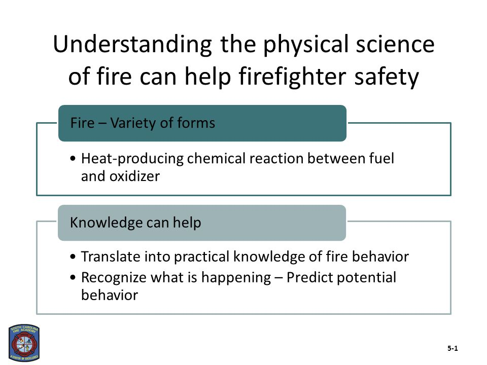 Heat-producing chemical reaction between fuel and oxidizer Fire – Variety of forms Translate into practical knowledge of fire behavior Recognize what