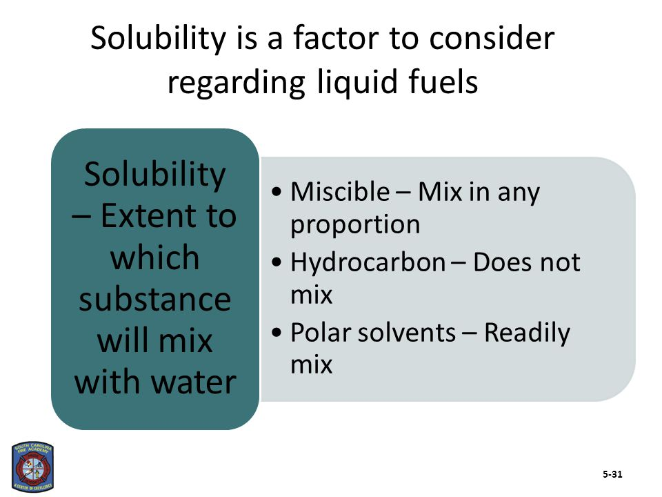 Miscible – Mix in any proportion Hydrocarbon – Does not mix Polar solvents – Readily mix Solubility – Extent to which substance will mix with water So
