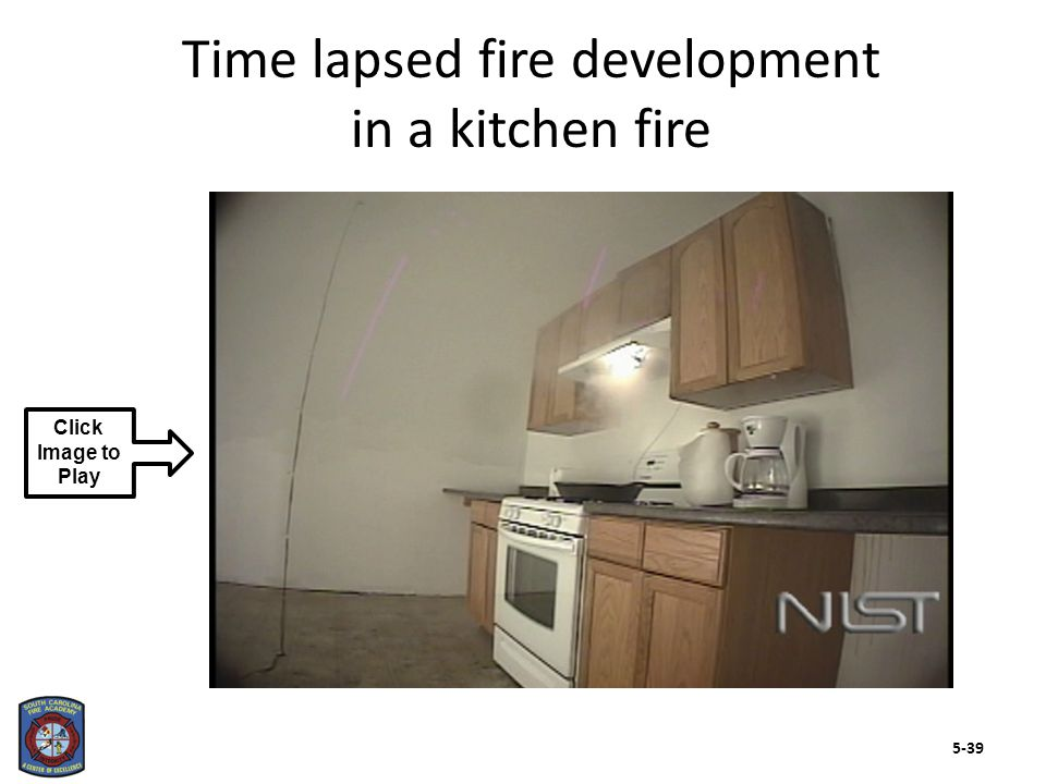 Fuel type Availability and location of additional fuel Affects heat release rate Class A Class B Fires involving single type of fuel rare Compartment fire as result of gas leak Building configuration Construction materials Contents Proximity of initial fire to exposed fuel sources There are several factors that will affect fire development (Cont.) 5-40