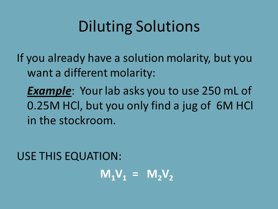 Preparing a Solution in the Lab You've learned about concentration (Molarity and molality). Therefore, you should be able to create your own solutions