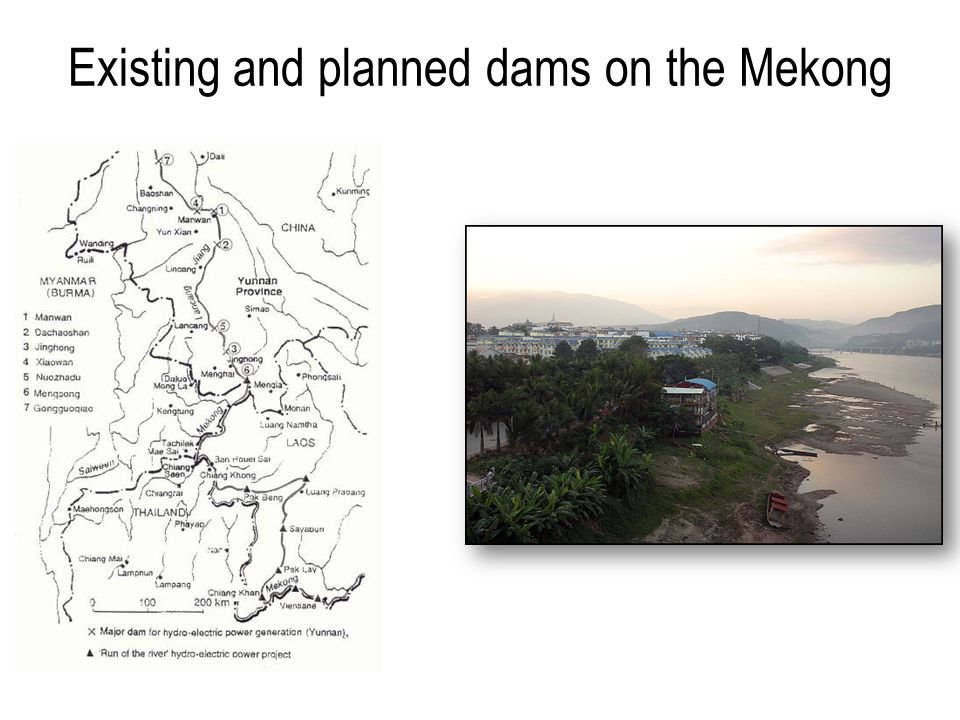 Existing and planned dams on the Mekong