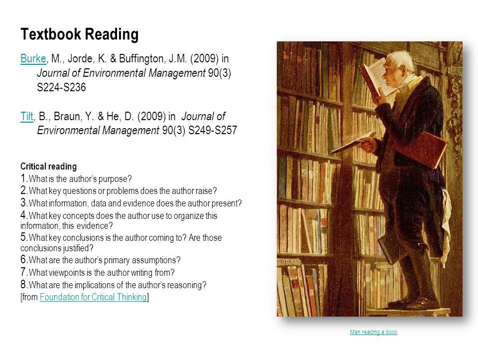Textbook Reading BurkeBurke, M., Jorde, K. & Buffington, J.M. (2009) in Journal of Environmental Management 90(3) S224-S236 TiltTilt, B., Braun, Y. &