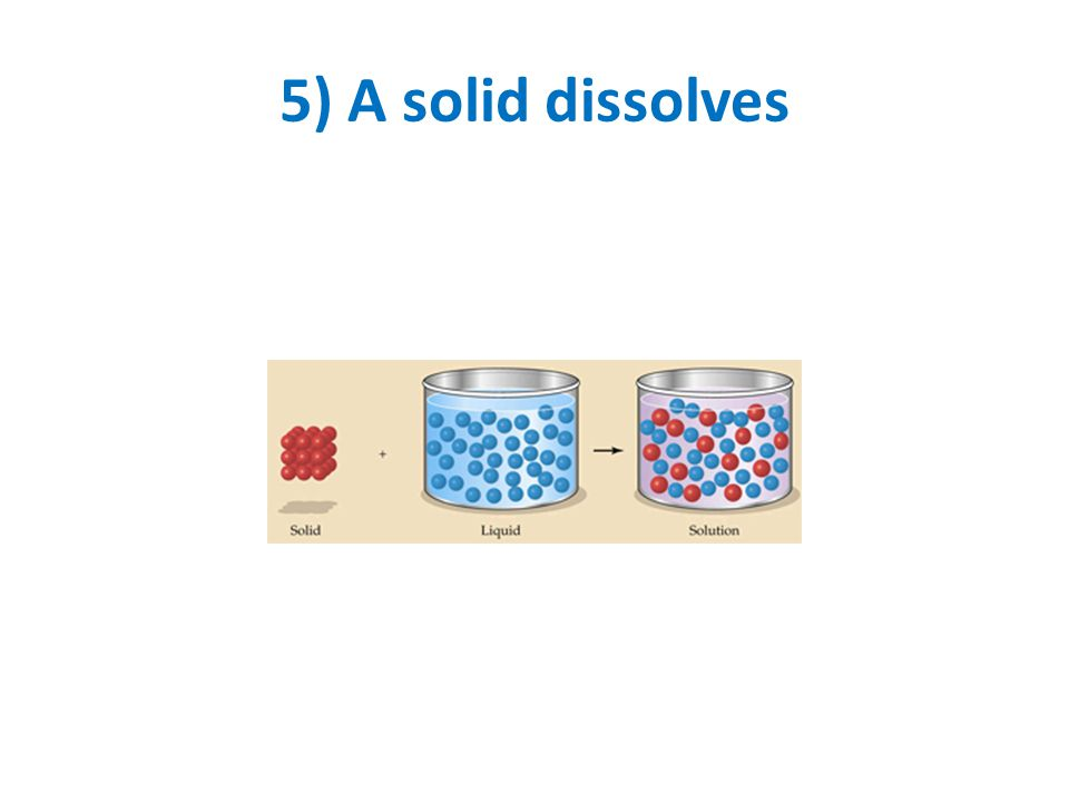 5) A solid dissolves