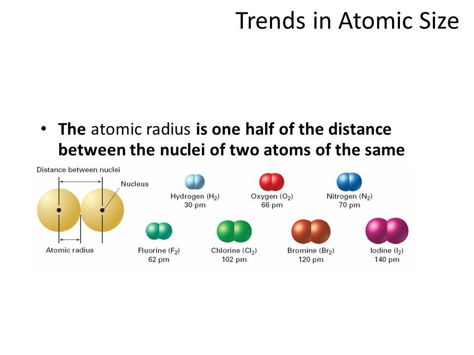 atomic radiusatomic radius: Covalent Radius for Covalently Bonded Atoms: half the distance between the nuclei of two covalently bonded atoms F-F bond