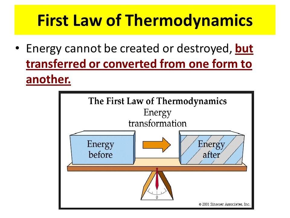 First Law of Thermodynamics Energy cannot be created or destroyed, but transferred or converted from one form to another.