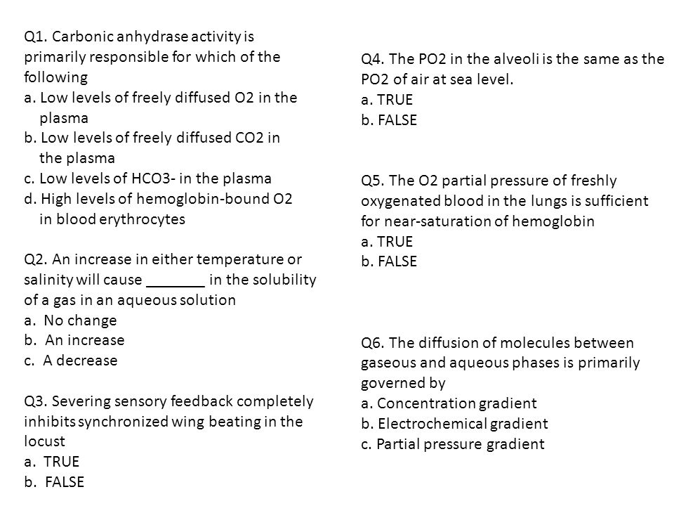 Q1.Carbonic anhydrase activity is primarily responsible for which of the following a.