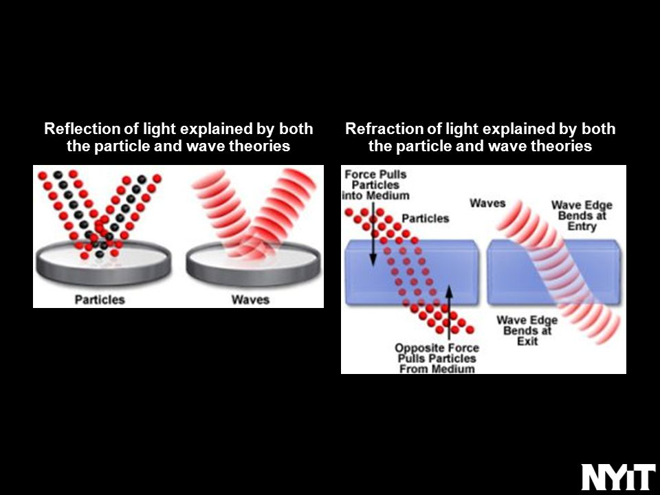 Reflection of light explained by both the particle and wave theories Refraction of light explained by both the particle and wave theories