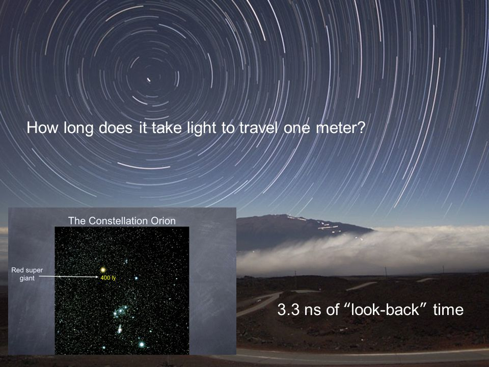 How long does it take light to travel one meter 3.3 ns of look-back time