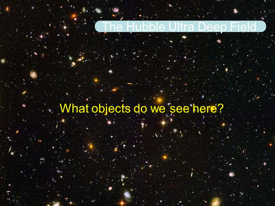 The Hubble Ultra Deep Field What objects do we see here