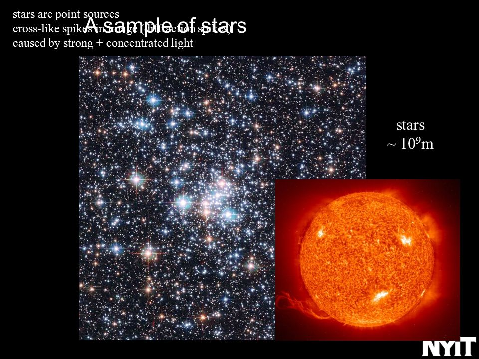 A sample of stars stars are point sources cross-like spikes in image (diffraction spikes) caused by strong + concentrated light stars ~ 10 9 m