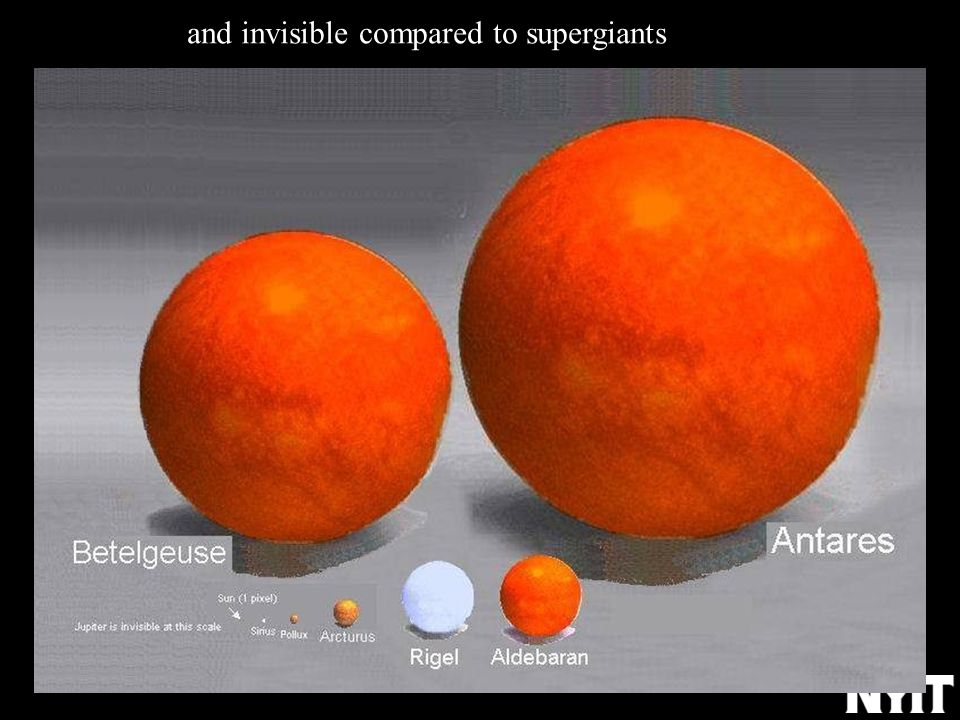 and invisible compared to supergiants