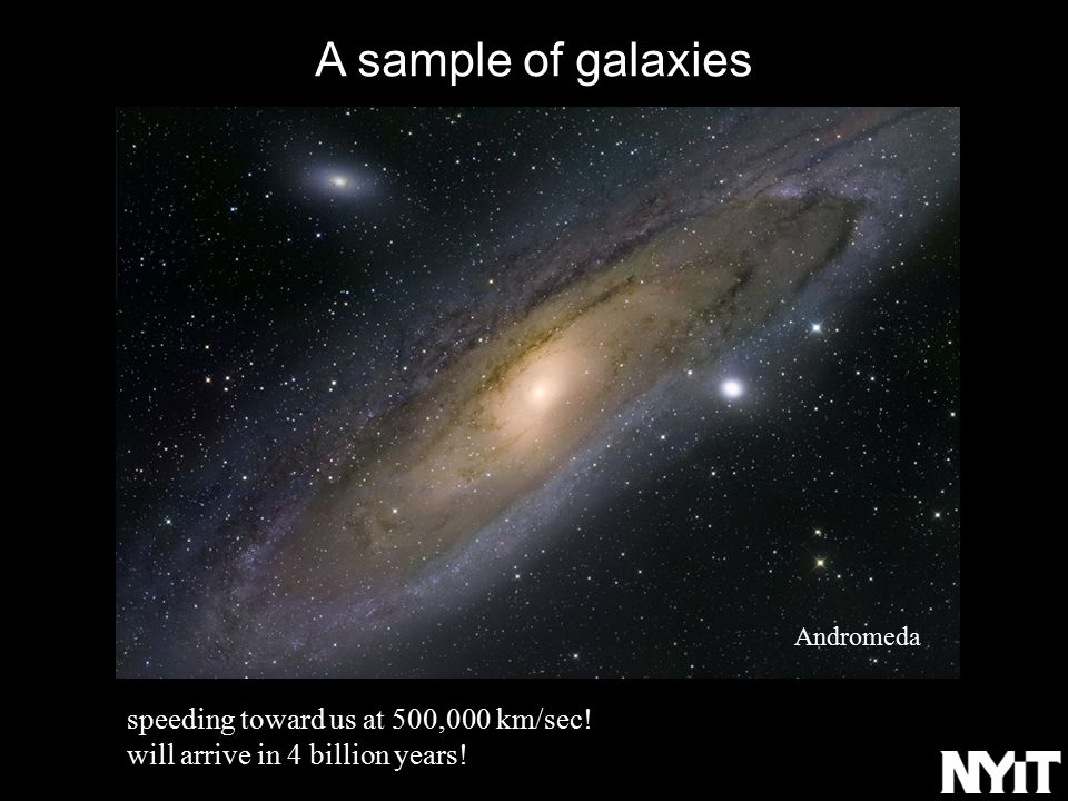 A sample of galaxies speeding toward us at 500,000 km/sec.