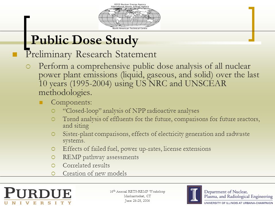 16 th Annual RETS-REMP Workshop Mashantucket, CT June 26-28, 2006 Public Dose Study Preliminary Research Statement  Perform a comprehensive public dose analysis of all nuclear power plant emissions (liquid, gaseous, and solid) over the last 10 years (1995-2004) using US NRC and UNSCEAR methodologies.