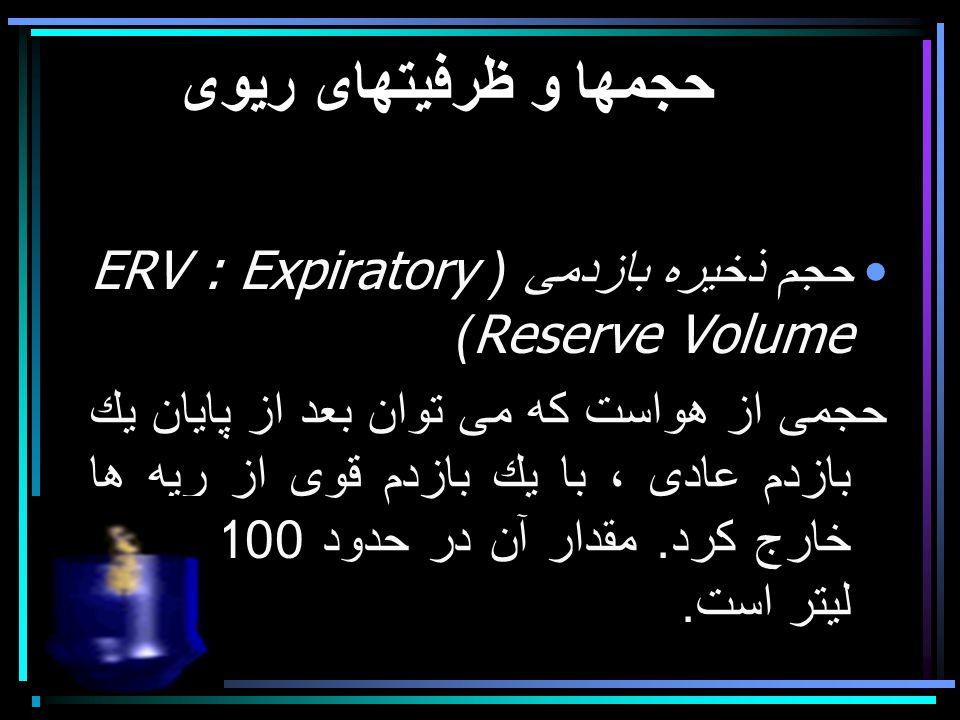 حجمها و ظرفيتهای ريوی حجم ذخيره بازدمی (ERV : Expiratory Reserve Volume) حجمی از هواست كه می توان بعد از پايان يك بازدم عادی ، با يك بازدم قوی از ريه ها خارج كرد.