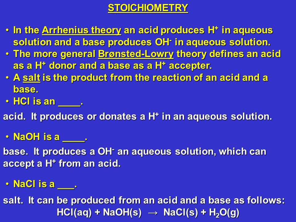 In the Arrhenius theory an acid produces H + in aqueous solution and a base produces OH - in aqueous solution.In the Arrhenius theory an acid produces H + in aqueous solution and a base produces OH - in aqueous solution.