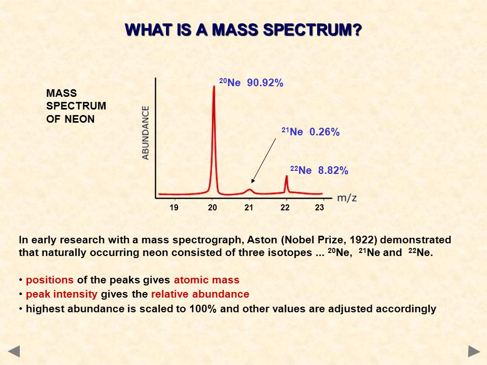 In early research with a mass spectrograph, Aston (Nobel Prize, 1922) demonstrated that naturally occurring neon consisted of three isotopes...