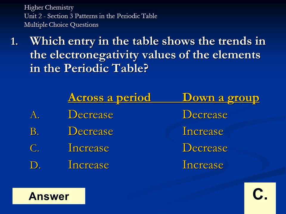 Higher Chemistry Unit 2 - Section 3 Patterns in the Periodic Table Multiple Choice Questions 2.The difference between the atomic size of sodium and chlorine is mainly due to the difference in the A.number of electrons B.number of protons C.number of neutrons D.mass of each atom Answer B.