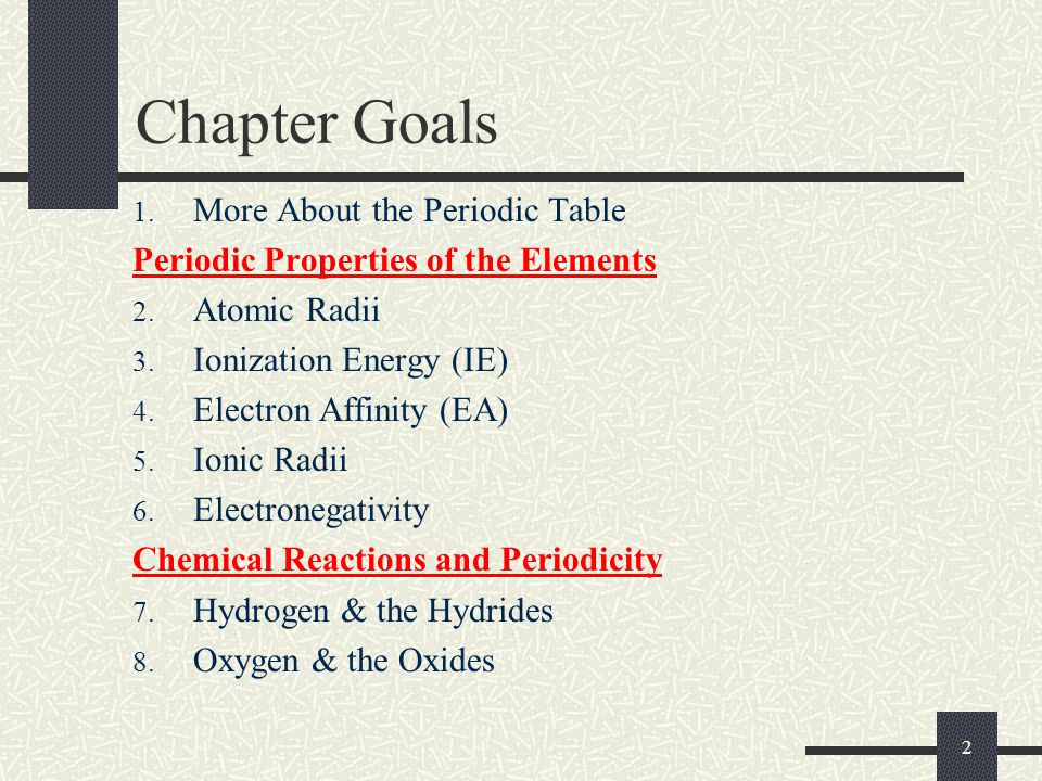2 Chapter Goals 1. More About the Periodic Table Periodic Properties of the Elements 2. Atomic Radii 3. Ionization Energy (IE) 4. Electron Affinity (E