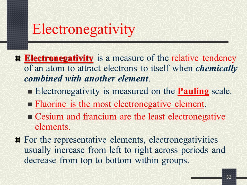 32 Electronegativity Electronegativity Electronegativity is a measure of the relative tendency of an atom to attract electrons to itself when chemical