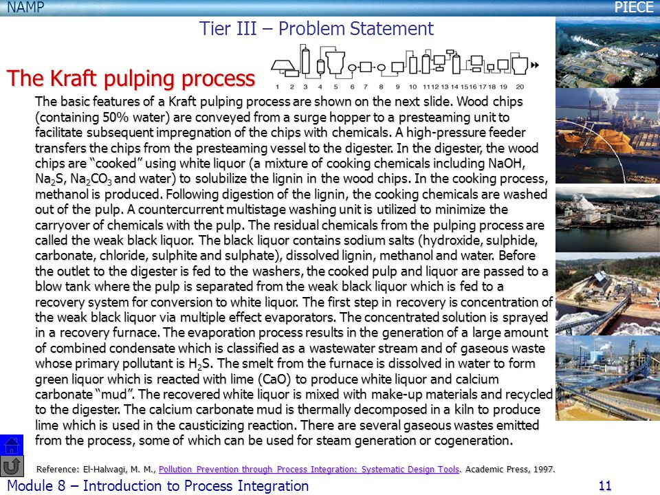 PIECENAMP Module 8 – Introduction to Process Integration 11 The Kraft pulping process The basic features of a Kraft pulping process are shown on the next slide.