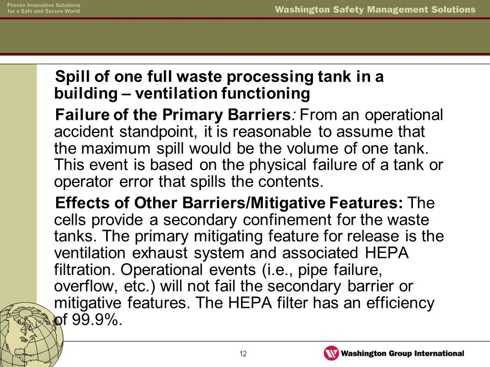 12 Spill of one full waste processing tank in a building – ventilation functioning Failure of the Primary Barriers: From an operational accident stand