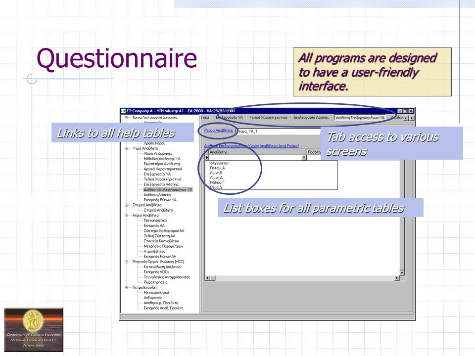Questionnaire All programs are designed to have a user-friendly interface. Tab access to various screens Links to all help tables List boxes for all p