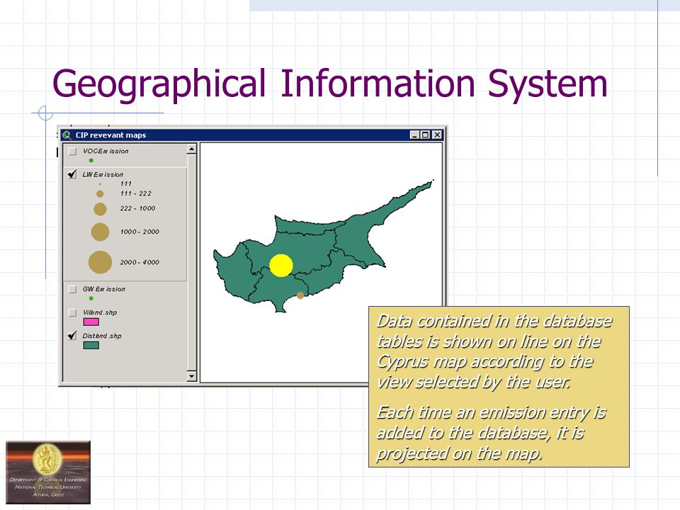 Geographical Information System Data contained in the database tables is shown on line on the Cyprus map according to the view selected by the user.