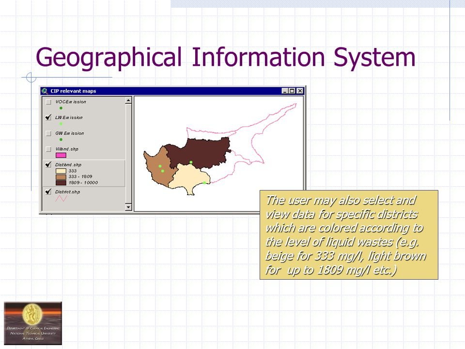 Geographical Information System The user may also select and view data for specific districts which are colored according to the level of liquid wastes (e.g.