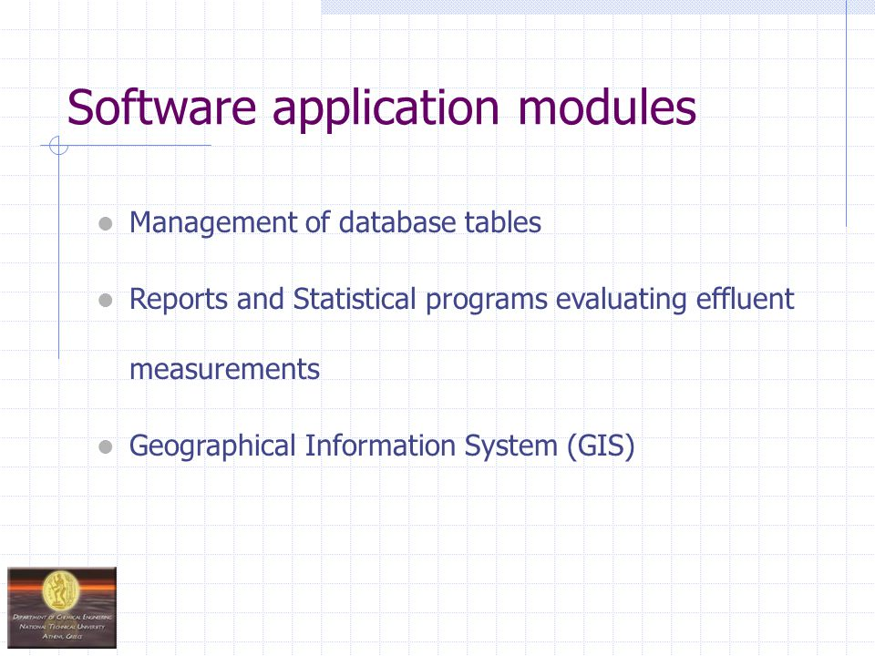 Software application modules Management of database tables Reports and Statistical programs evaluating effluent measurements Geographical Information System (GIS)