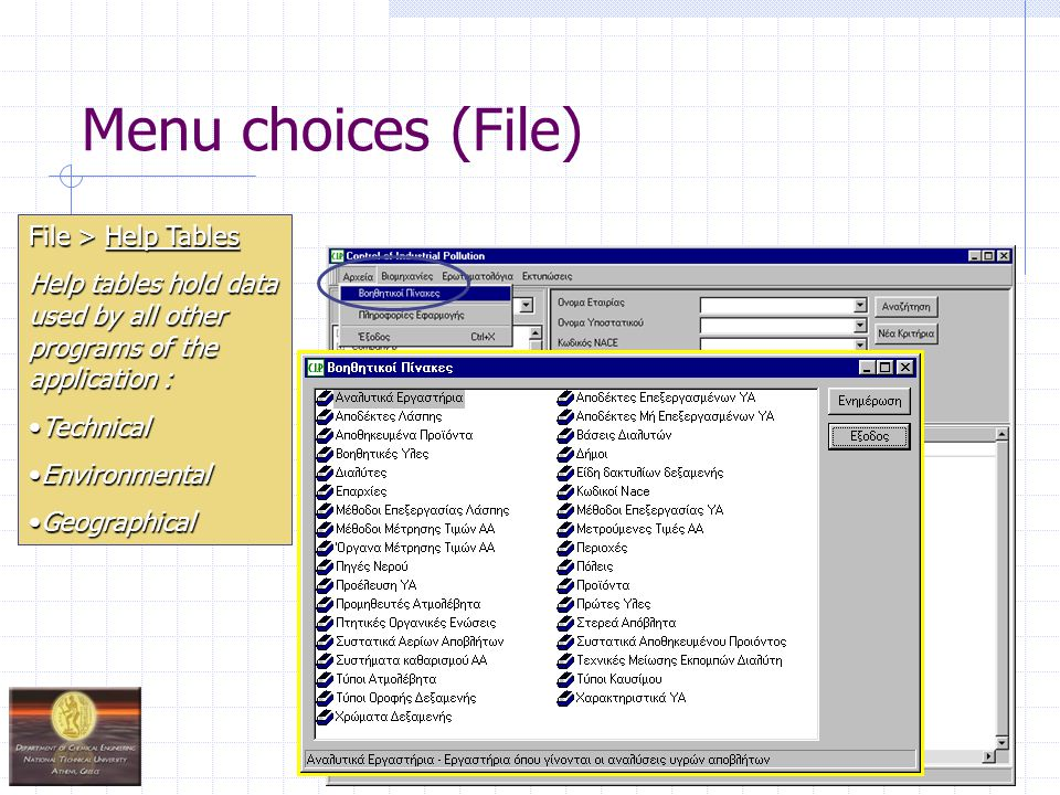 Menu choices (Industry) These programs allow the user to : insert a new company / industry insert a new company / industry view data of an existing company / industry view data of an existing company / industry update / delete an existing company / industry update / delete an existing company / industry