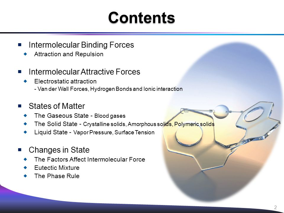  Intermolecular Binding Forces  Attraction and Repulsion  Intermolecular Attractive Forces  Electrostatic attraction - Van der Wall Forces, Hydrog