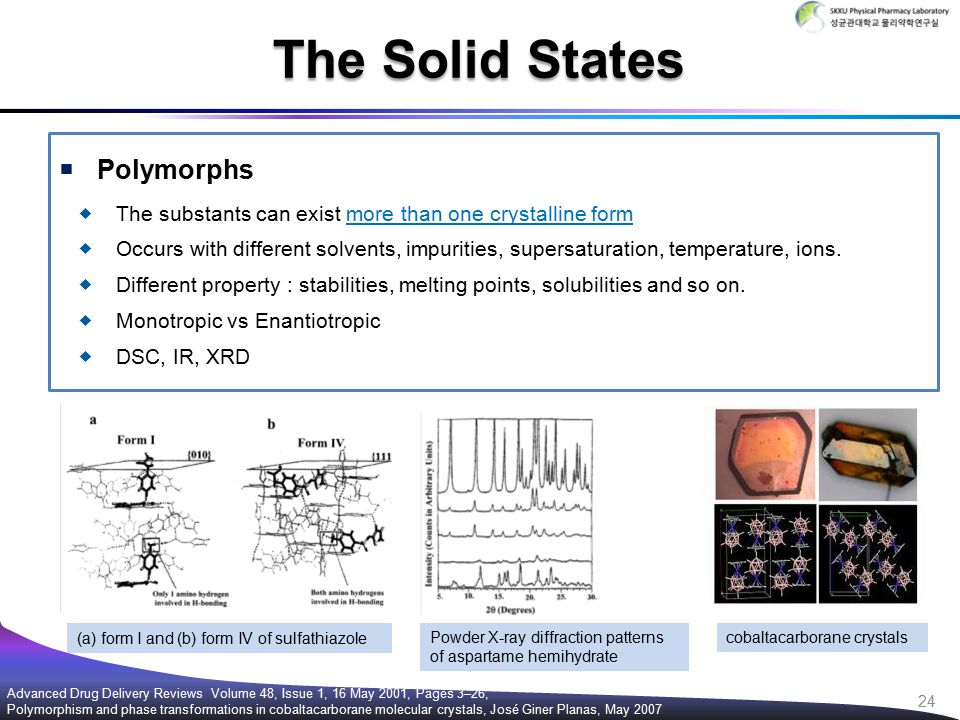 Polymorphs  The substants can exist more than one crystalline form  Occurs with different solvents, impurities, supersaturation, temperature, ions.