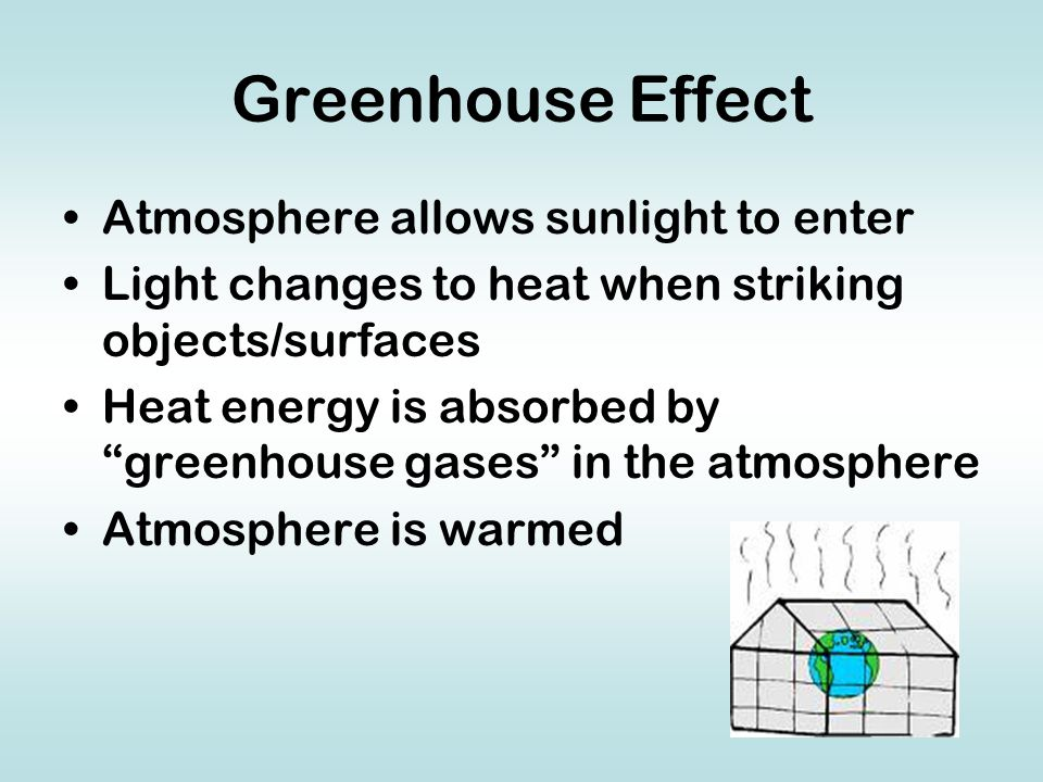 Greenhouse Effect Atmosphere allows sunlight to enter Light changes to heat when striking objects/surfaces Heat energy is absorbed by greenhouse gases in the atmosphere Atmosphere is warmed