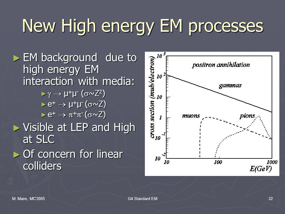 M. Maire, MC'2005G4 Standard EM22 New High energy EM processes ► EM background due to high energy EM interaction with media: ►  → µ + µ - (  ~Z 2 )