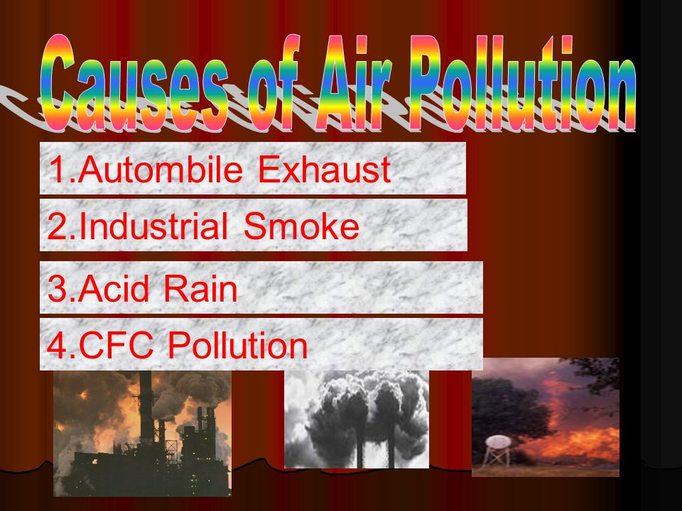 1.Autombile Exhaust 2.Industrial Smoke 3.Acid Rain 4.CFC Pollution