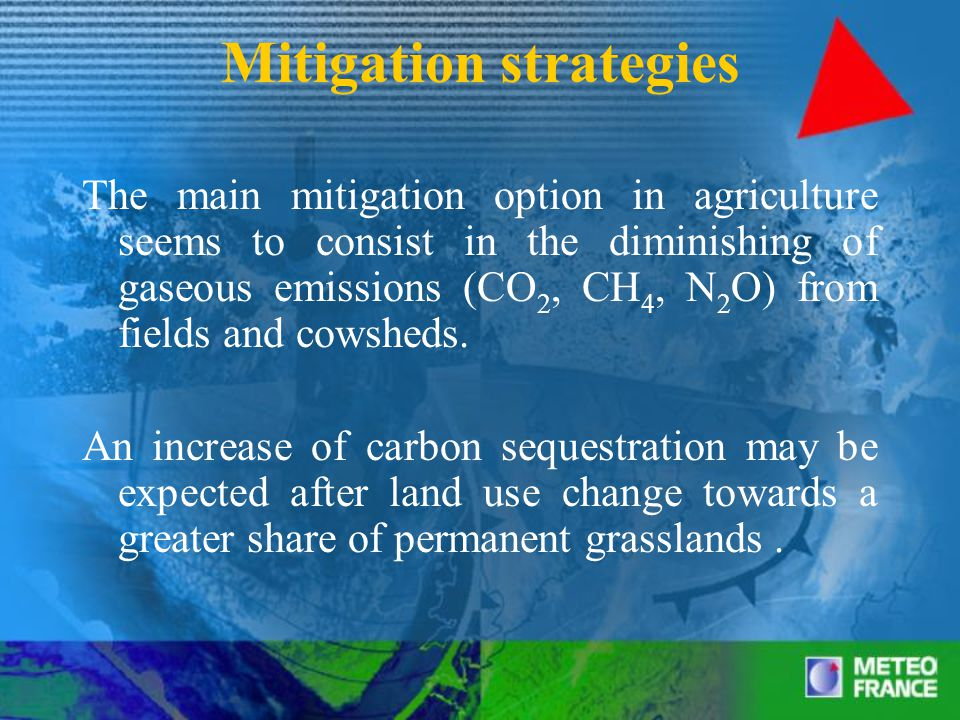 Mitigation strategies The main mitigation option in agriculture seems to consist in the diminishing of gaseous emissions (CO 2, CH 4, N 2 O) from fields and cowsheds.
