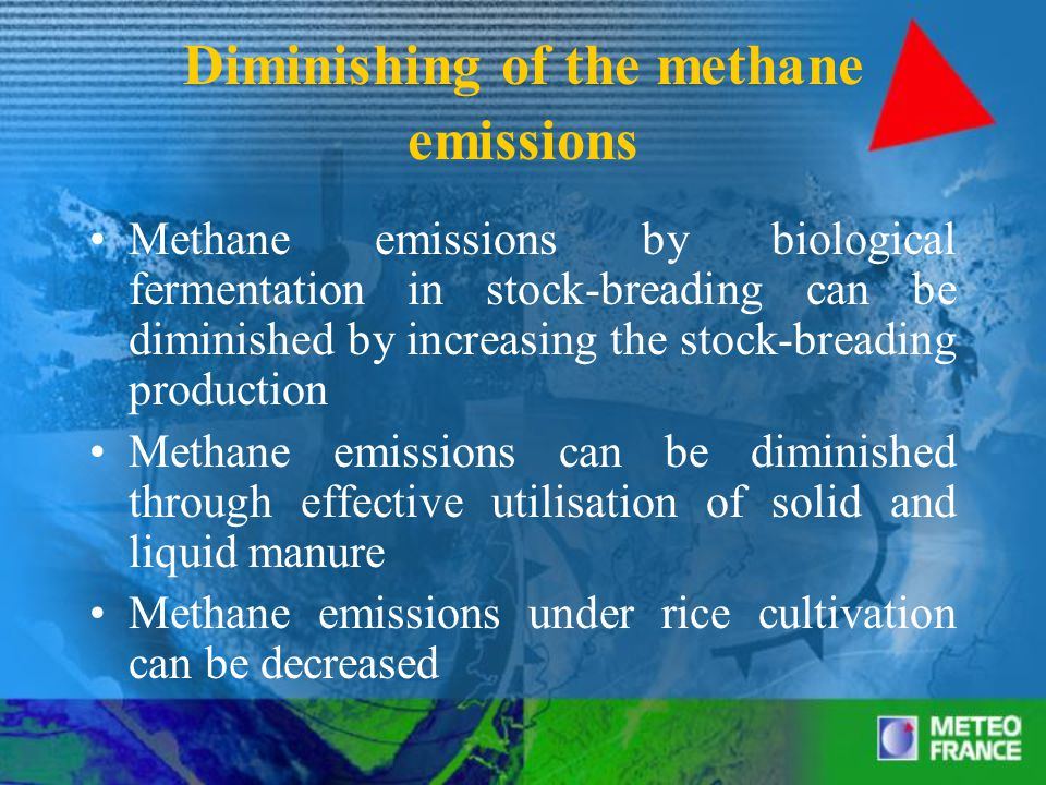 Diminishing of the methane emissions Methane emissions by biological fermentation in stock-breading can be diminished by increasing the stock-breading production Methane emissions can be diminished through effective utilisation of solid and liquid manure Methane emissions under rice cultivation can be decreased
