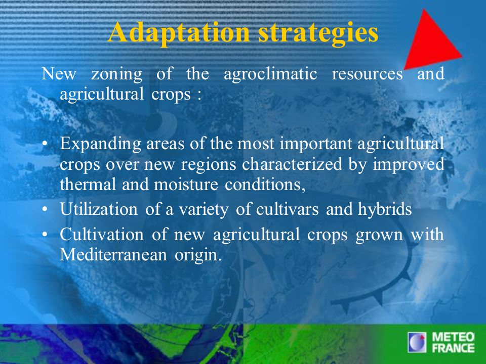 Adaptation strategies New tuning of the crop calendar and new timing of treatment Introduction of new cultivars and hybrids adapted to climate change (introduction of drought- resistant varieties, introduction of new cultivars and hybrids to grow and photosynthesis under an increased concentration of carbon dioxide, selective breeding from crops adapted to increase the sink capacity for extra carbohydrates)