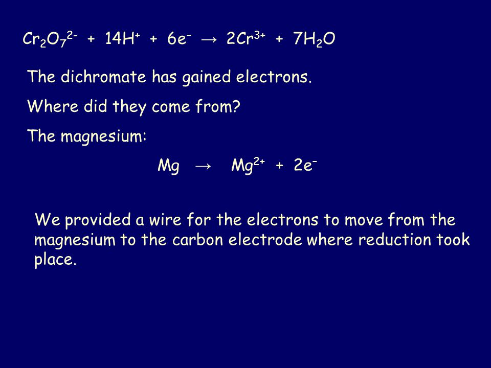 Cr 2 O 7 2- + 14H + + 6e – → 2Cr 3+ + 7H 2 O The dichromate has gained electrons. Where did they come from? The magnesium: Mg → Mg 2+ + 2e – We provid