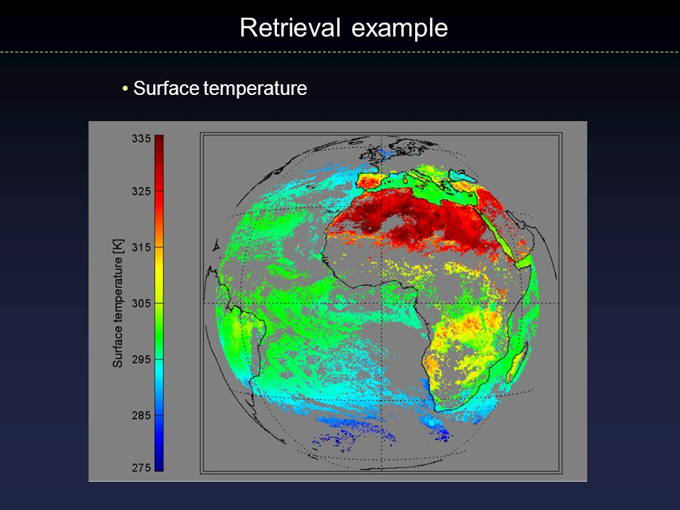 Retrieval example Surface temperature