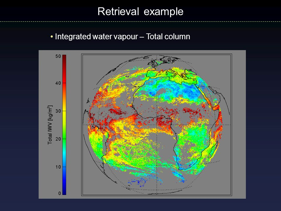 Retrieval example Integrated water vapour – Total column