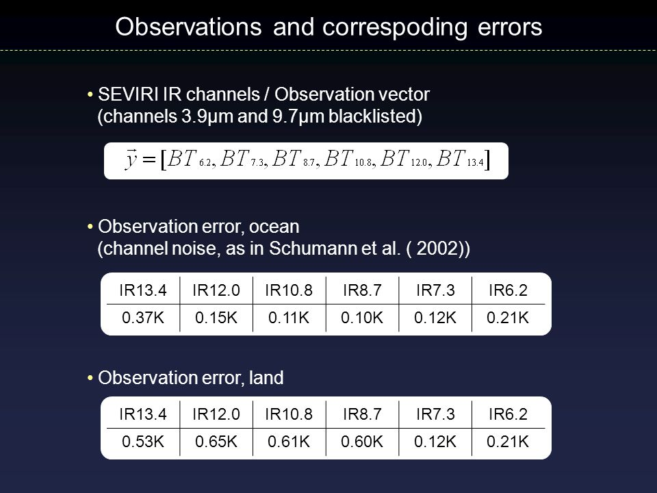 SEVIRI IR channels / Observation vector (channels 3.9µm and 9.7µm blacklisted) Observations and correspoding errors IR13.4IR12.0IR10.8IR8.7IR7.3IR6.2
