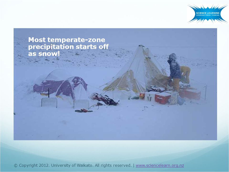 Most temperate-zone precipitation starts off as snow! © Copyright 2012. University of Waikato. All rights reserved. | www.sciencelearn.org.nzwww.scien