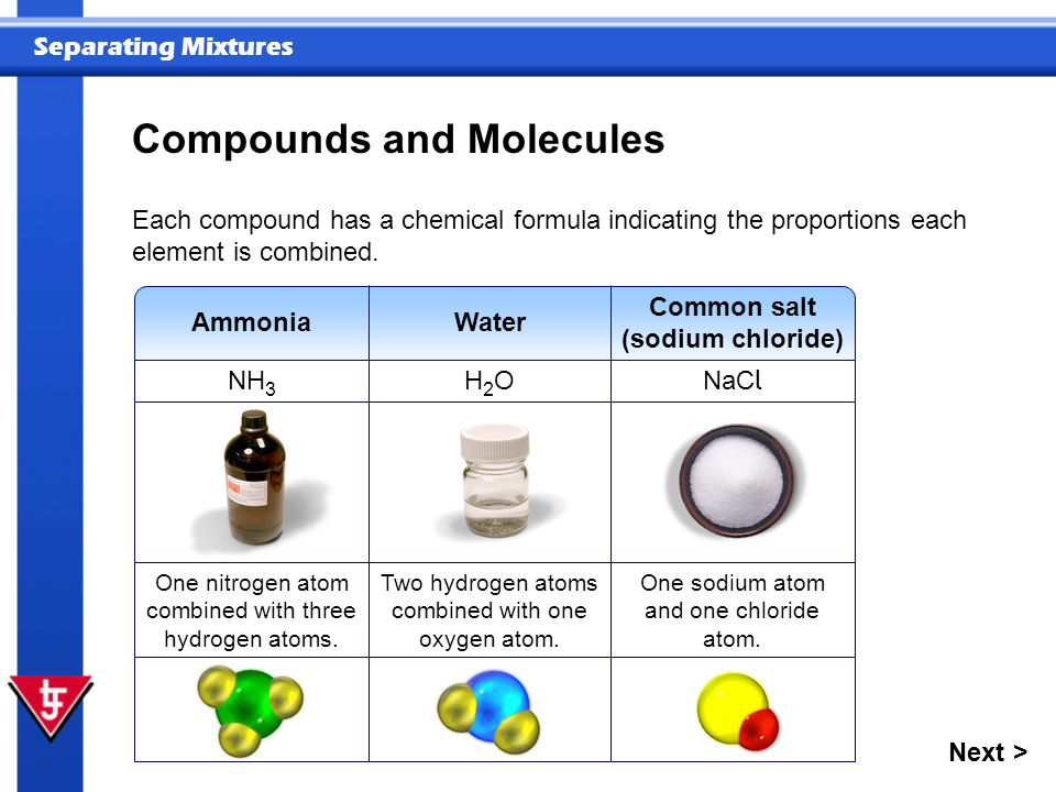 Separating Mixtures Common salt (sodium chloride) NaC l Water H2OH2O Each compound has a chemical formula indicating the proportions each element is combined.